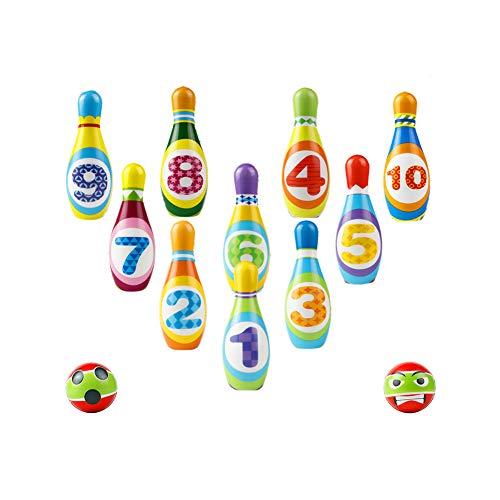 BowlingKinder Set 12 Stück Pädagogisches Spiel Geschenke 3 4 5 Jährige Jungen Mädchen Spielzeug(10 stabil Die Kegel, 2 Bällen)