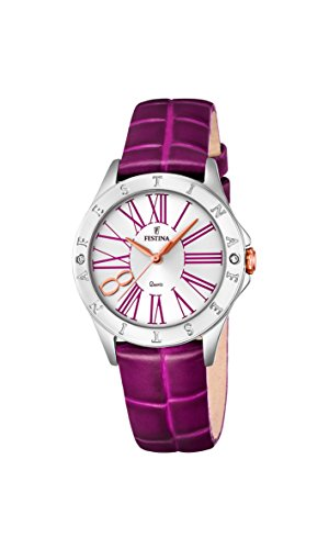 Festina BOYFRIEND Women's Quartz Watch with Silver Dial Analogue Display and Purple Leather Strap F16929/2