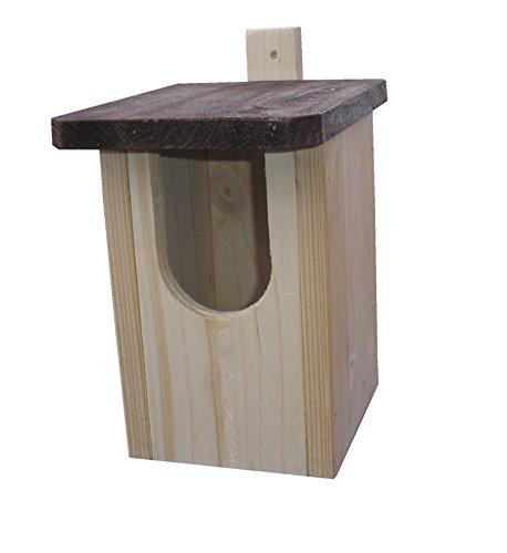 Nistkasten für Rotkehlchen aus massivem Holz mit Befestigungsleiste