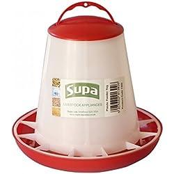 Supa - Comedero para pájaros/gallinas (3kg/Blanco/Rojo)