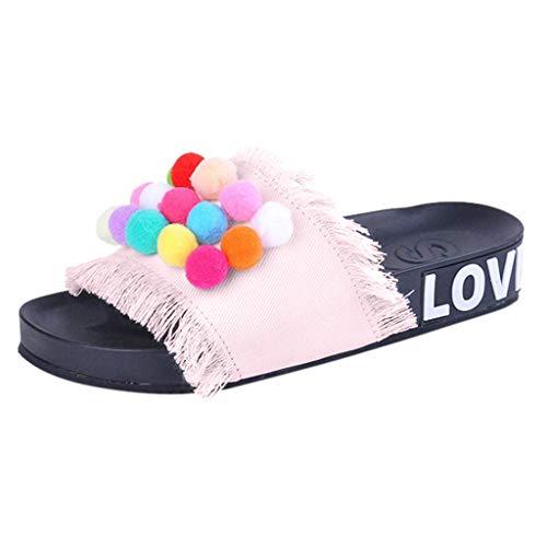 KERULA Frauen Handgemachte Denim Farbe Haar Ball Flachboden Schuhe Sandalen Hausschuhe Gummi-Plattform Wasserdicht Cowboy 01 Damen Candy Fell Flach Mit Dicken Weiblichen - Cowboy-plattform