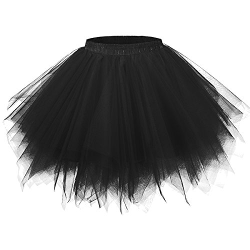 50er Vintage Tüllrock Petticoat Mehrfarbig Bubble Tanzkleid Rock Schwarz-S/M ()