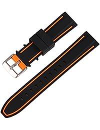Aesy Silicone Bracelet de Montre, Sport Patchwork Anti-UV Imperméable Texturé Hommes Femmes Remplacement Regarder Sangle - Argent Brossé Inoxydable Acier Boucle - 20mm, 22mm, 24mm (22mm, Orange Noir)