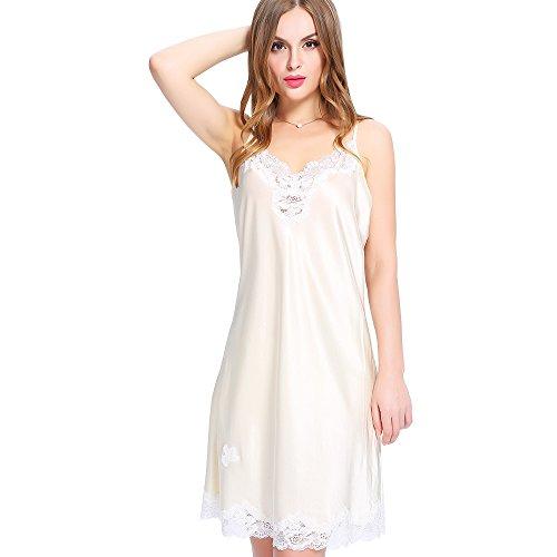 Lilysilk Unter Knielang Seide Nachthemd Nachtkleid Mit Spitze Damen Beige