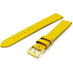 Fine Calf Leather Watch Strap Band 16mm Extra-Long XL Yellow with Gilt (Gold Colour) Buckle. Free Spring Bars (Watch Pins)