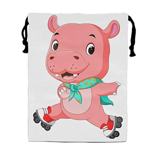Naiyin Cute Hippo Playing Roller Skates Drawstring Gym Sport Bag Large Lightweight Gym Sackpack (Bag Roller Gym)