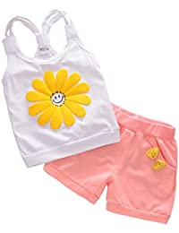 SMARTLADY 1~3 años Bebé Niña Ropa de Conjunto Chaleco y Pantalones cortos