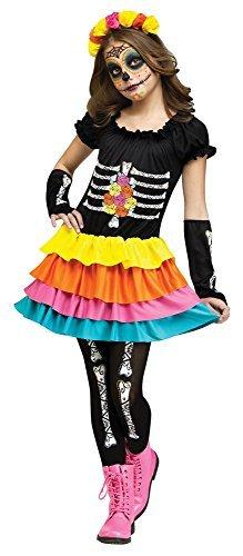 Mädchen 4 Stück Dia de los muertos Tag der Toten Skelett + Strumpfhose Halloween Kostüm Kleid Outfit - Multi, 8-10 Years
