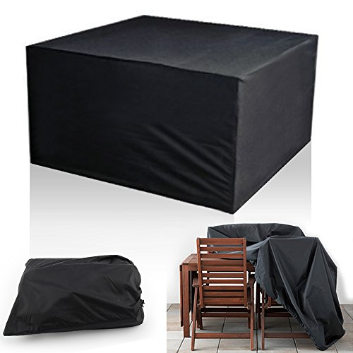 NO.1 GARDEN MULTIWARE CUBE SET COVER GARDEN FURNITURE COVERS BLACK WATERPROOF FOR RATTAN TABLE SET BEST PRICE REVIEW