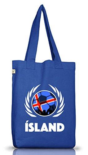 Iceland Fussball WM Fanfest Gruppen Jutebeutel Stoffbeutel Earth Positive Fußball Island Bright Blue