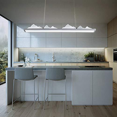 Lampe suspension moderne à LED pour salle à manger, salle à manger, salle à manger, salle à manger, salon, lustre, design rectangulaire en fer en aluminium, lampe en acrylique blanc 6000 K 45 W