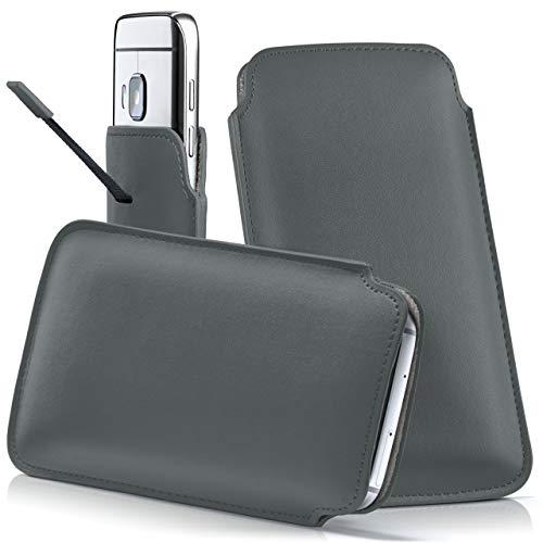 moex HTC One S9 | Hülle Grau Sleeve Slide Cover Ultra-Slim Schutzhülle Dünn Handyhülle für HTC One S9 Case Full Body Handytasche Kunst-Leder Tasche