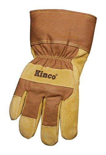 Kinco 1958-m gefüttert Split Schweinsleder Leder Palm Arbeit Handschuh, braun, Sicherheit Manschette