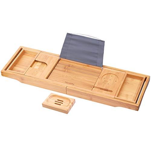 Healifty Bandeja baño bambú retráctil colgar cama