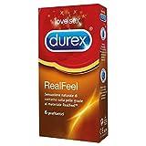 Durex Real Feel Preservativi in Lattice Sintetico per una Sensazione Naturale sulla Pelle, 6 Profilattici