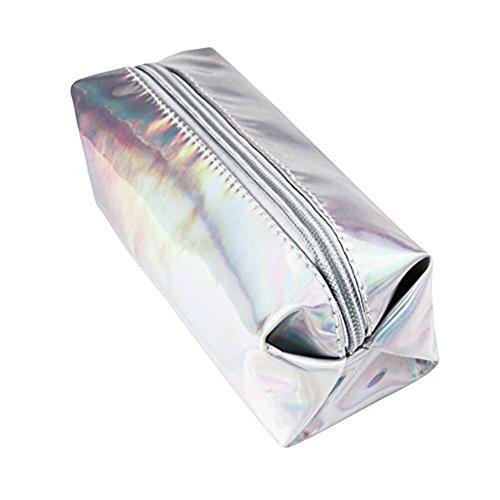 LQZ(TM) Trousse Scolaire Mignon Sac de Crayon avec Fermeture Éclair Boîte Stylo Sac Papeterie Sacs Cosmetic Bag pour Papeterie Cadeau (argent)