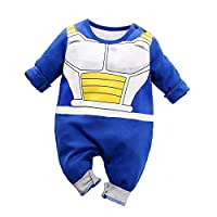 Dragon Ball Z Cosplay Long Sleeve Baby Boy and Girls Vegeta Rompers Costume Jumpsuit Baby Clothes Blue