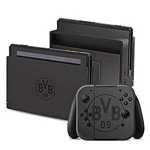 DeinDesign Nintendo Switch Folie Skin Sticker aus Vinyl-Folie Aufkleber Borussia Dortmund BVB Logo Grau
