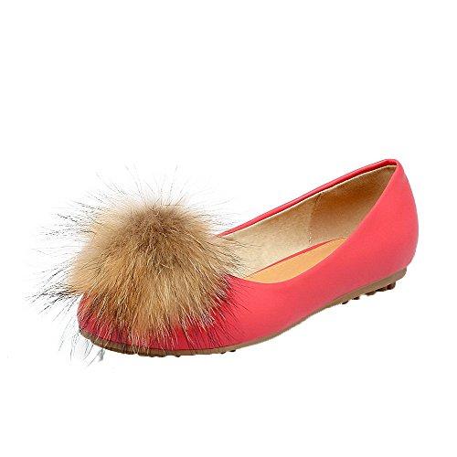AgooLar Damen Niedriger Absatz PU Rein Ziehen auf Rund Zehe Pumps Schuhe, Rot, 38