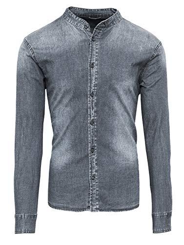 Evoga camicia di jeans uomo casual con collo alla coreana slim fit (l, grigio)