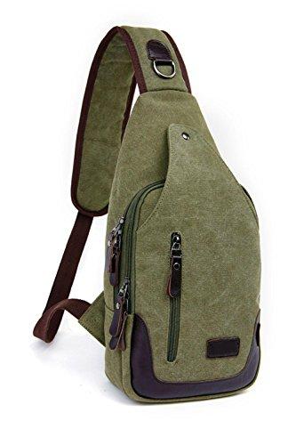 DONG Schulter / diagonal / Leinwand / M / Brusttasche / Mode / Freizeit / kleine Taschen army green
