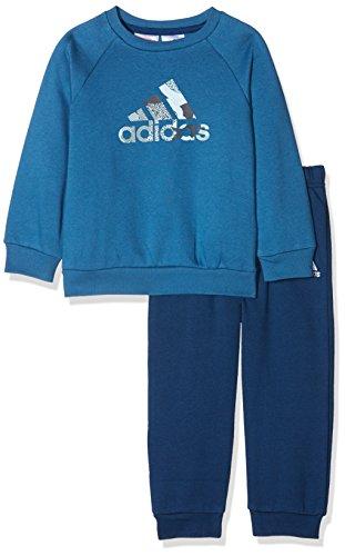 adidas Kinder Badge of Sport Jogginganzug Trainingsanzug, Vivber/Sunglo, 104