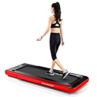 Sparnod Fitness STH-3000 Series (4 HP Peak) 2 in 1 Foldable Treadmill for Home Cum Under Desk Walking Pad (Free Installation Assistance) - Slim Enough to be stored Under Bed (Race Red)