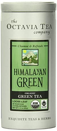 Octavia Tea Himalayan Green (Organic, Fair Trade Certified Green Tea) Loose Tea, 2.12 Ounce Tin