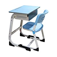 Iron wood school table with blue plastic chair