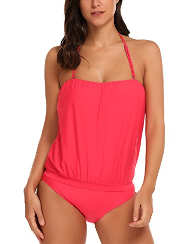 Avildove Tankini Set Badeanzug Schwimmanzug Bademode Swimwear Damen Neckholder Sportbadeanzug einteilig sehr bequem Schwarz XXL XX-Large,  Stil 5:rosa (Top Blouson Badeanzug)