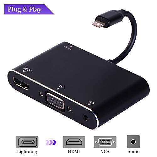 MASOMRUN auf HDMI & VGA & Audio Video Adapter Konverter Kabel, Phone X/X MAX/8/7/6/5 Plus/Pad Mini/Pod an Beamer Monitor TV (Schwarz) -