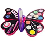 Toy4Pick Girl's All-in-One Cosmetic And Real Makeup Palette With Mirror, Pretend Play Toy Make Up Case Kit, Safety Tested, Non-Toxic, Washable, Comes In Butterfly CASE