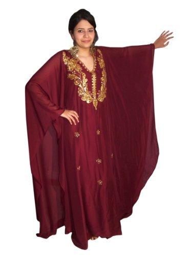 Abaya Festkleid aus Chiffon, Einheitsgröße: M bis XXXL , in verschiedenen Farben (Weinrot/gold)