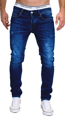 MERISH 5-Pocket Denim Jeans Herren Slim Fit Used Design Modell J9156 Dunkelblau