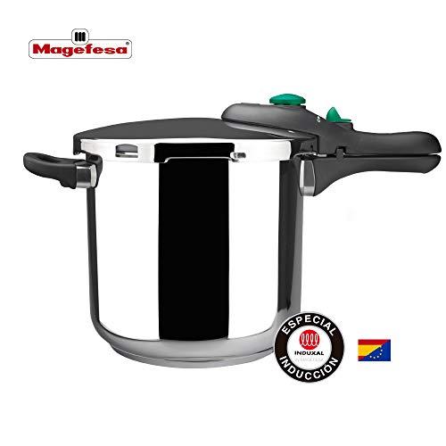 MAGEFESA Dynamic Olla a presión Super rápida de fácil Uso, Acero Inoxidable 18/10, Apta para Todo Tipo de cocinas, Incluido inducción (6L)