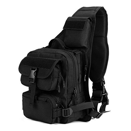 Imagen de bolsa táctico militar bolsa de pecho bolso al hombro de moda bolsa de aire libre para ocio deporte senderismo bolsa ,negro