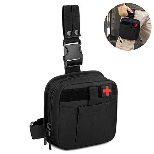 Selighting Taktisch Beintasche Wasserdicht Notfalltasche Erste Hilfe Tasche Militär Hüfttasche für Outdoor Wandern Trekking Reisen Airsoft (Schwarz)