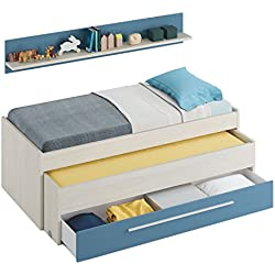Habitdesign 0A7438Y - Cama Nido Juvenil Dos Camas y un cajón, Color Blanco Alpes y Azul, Dimensiones: 200cm (Ancho) x 69cm (Alto) x 96cm (Fondo)