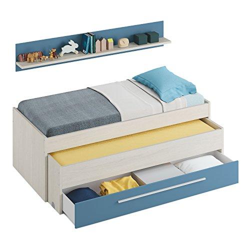 Habitdesign 0A7438Y - Cama Nido Juvenil Dos Camas y un cajón, Color Blanco Alpes y Azul, Dimensiones: 200cm (Ancho) x 69cm (Alto) x...