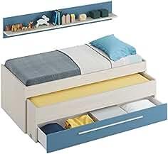 Habitdesign 0A7438Y - Cama Nido Juvenil Dos Camas y un cajón, Color Blanco Alpes y