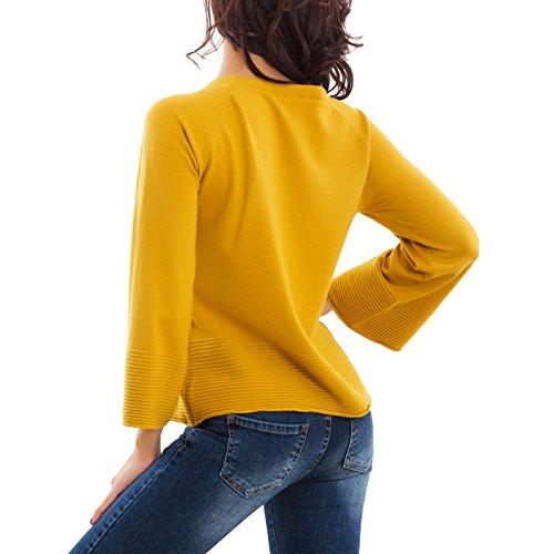 Toocool - Maglione donna pullover taglio morbido manica lunga campana nuovo SA600241 SA600241 senape