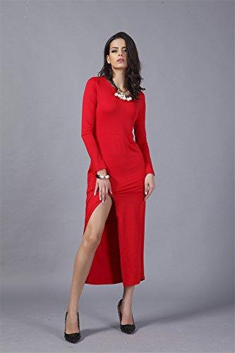 QIYUN.Z (TM) Neue Langhülse Oansatz Der Seitenschenkel Schlitz Sexy Knöchellang Förmigen Körper Kleid Damen Blusen Tuniken T-Shirts Tops Shirt Kleider Rote
