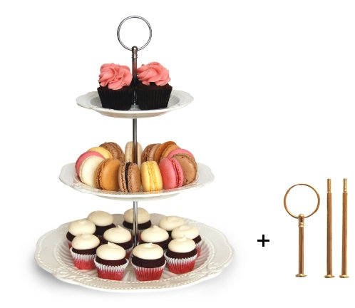 Gold Leaf Teller (Auswechselbarer 2- oder 3-stöckiger Kuchen- / Cupcake-/ Dessertständer - perfekt für Unterhaltungen - Elegante Servierplatte, inkl. silberfarbener und goldfarbener Hardware)