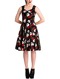Robe Rockability Rock and Ruin années 50 Hell Bunny produit de marque robe balancée et cintrée, motifs têtes de mort bretelles noir