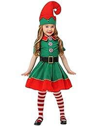 JEELINBORE Unisex Adulto Bambini Elfo di Natale Costume con Cappello  Santa s Little Helper Costume da Elfo 11ef5c786ac8
