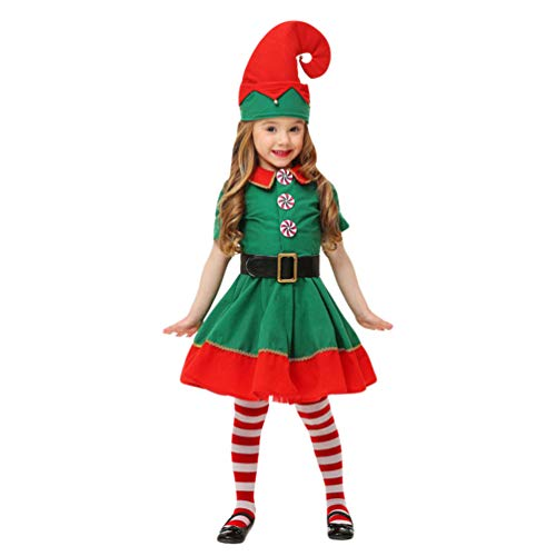Fancy Christmas Dress Kostüm - JEELINBORE Unisex Erwachsene Kinder Baby Weihnachten Kostüm Xmas Elf Outfit Weihnachtself Fancy Dress mit Hut (Mädchen, 120)