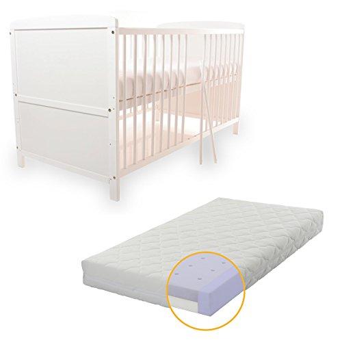 BABYBLUME Kinderbett Gitterbett Jugendbett Teilmassiv 140x70 cm - Tina in verschiedenen Varianten (Weiss incl. Matratze DUO AIR)