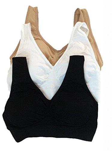 Professional Sports Store BADI (Begriffsklärung) NA Damen Yoga Bra 3in-Pack Set Summer mit Abnehmbarem Pad Weiß & Schwarz & Nude, Damen, Black White & Nude, Medium (Schwarz Genie Bra)