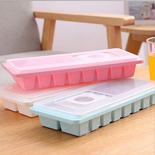 TRMWDBPB Eiswürfelschale 16 Gitter Eiswürfelschale Box Mit Deckel Getränk Gelee Gefrierschrank Form Eismaschine Bar Küche Werkzeuge Geschenk