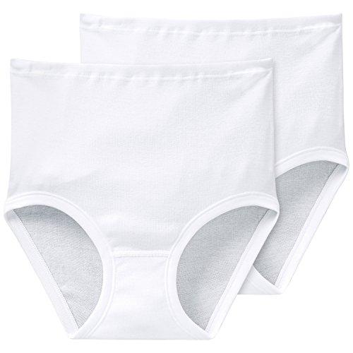 Schiesser Damen Slip 2-er Pack, 000005-100, Gr. 48 (4XL), Weiß (100-weiss)
